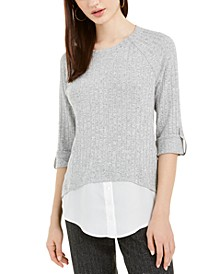 Juniors' Faux-Layered Roll-Sleeve Sweater