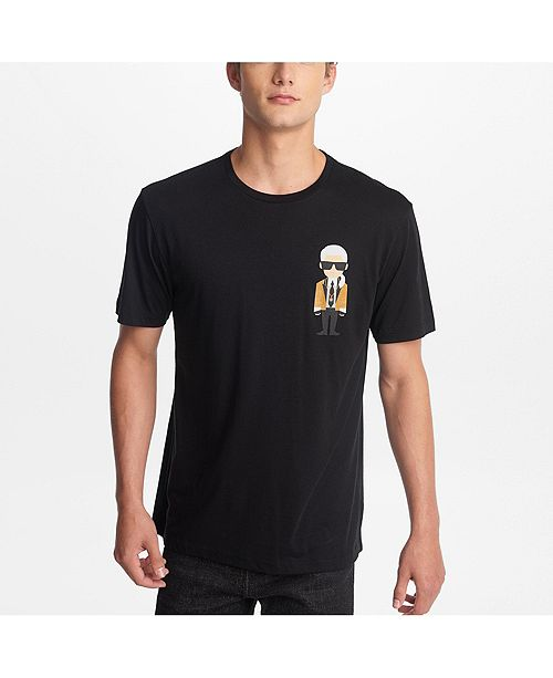 Karl Lagerfeld Paris Men's Crew Neck T-Shirt With Karl Character In Gold Blazer