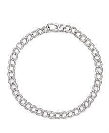 Diamond (1 ct. t.w.) Cuban Link Bracelet in 14K White Gold