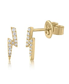 Diamond (1/10 ct. t.w.) Lightning Bolt Stud Earrings in 14K Yellow Gold