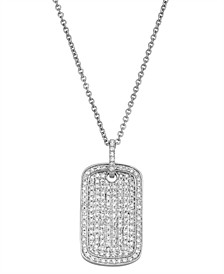 Diamond (1/2 ct. t.w.) Dog Tag Necklace in 14K White Gold