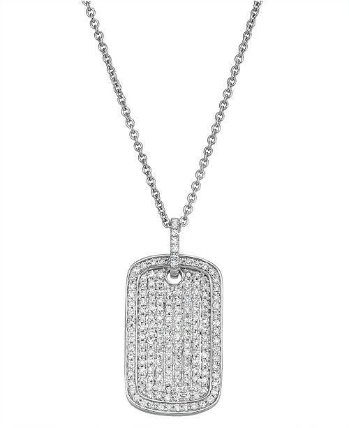Serena Williams Jewelry Diamond (1/2 ct. t.w.) Dog Tag Necklace in 14K White Gold