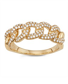 Diamond (1/2 ct. t.w.) Cuban Link Ring in 14K Yellow Gold