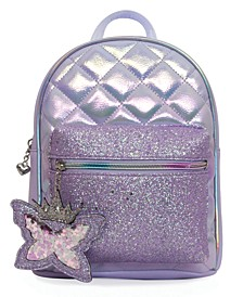 Quilted Mini Backpack with Glitter Pocket