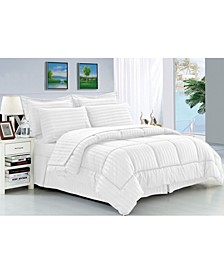 Wrinkle Resistant - Silky Soft Dobby Stripe Bed-in-a-Bag 8-Piece Comforter Set
