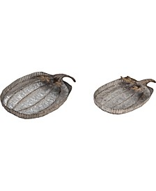 Metal Silver Harvest Pumpkin Tray -  Set of 2