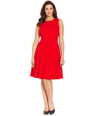 Calvin Klein Plus Size Pleated A Line Dress Dresses