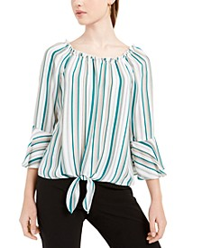 Juniors' Printed Tie-Front Bell-Sleeved Top