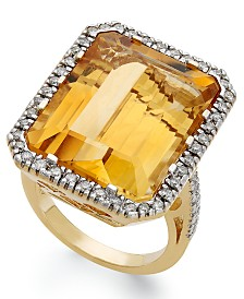 14k Gold Ring, Citrine (22 ct. t.w.) and Diamond (1/2 ct. t.w.) Rectangle Ring