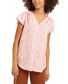 Floral-Print Button-Down Top, Created for Macy's