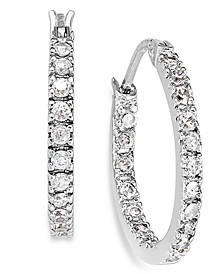 "Small Sterling Silver Earrings, Cubic Zirconia Hoop Earrings, 0.6"", (3/4 ct. t.w.)"