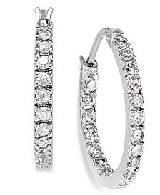 "Giani Bernini Small Sterling Silver Earrings, Cubic Zirconia Hoop Earrings, 0.6"", (3/4 ct. t.w.)"