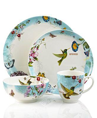 Closeout portmeirion dinnerware botanic hummingbird 4 for Portmeirion dinnerware set of 4 botanic garden canape plates