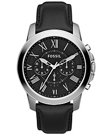 Men's Chronograph Grant Black Leather Strap Watch 44mm FS4812