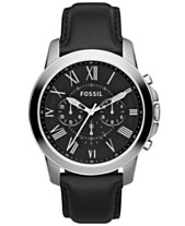 e4d52c22f Fossil Men's Chronograph Grant Black Leather Strap Watch 44mm FS4812