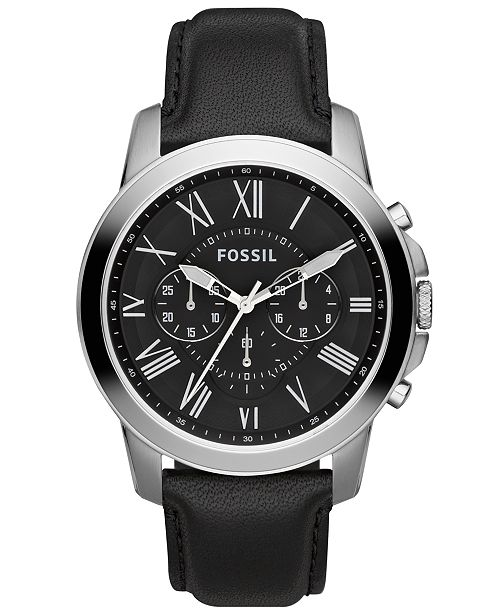 660d16eca ... Fossil Men's Chronograph Grant Black Leather Strap Watch 44mm FS4812 ...