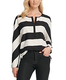 Striped Split-Neck Top