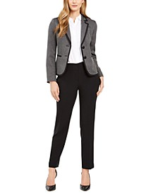 Two-Button Contrast-Trim Pantsuit