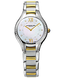 RAYMOND WEIL Watch, Women's Swiss Noemia Diamond Accent Two-Tone Stainless Steel Bracelet 32mm 5132-SPS-00985