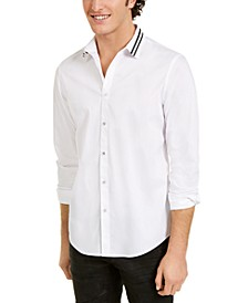 INC Men's Striped-Collar Shirt, Created for Macy's