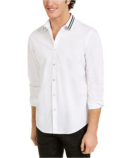 INC International Concepts INC Men's Striped-Collar Shirt, Created For Macy's