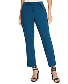 Petite Tie-Belted Dress Pants