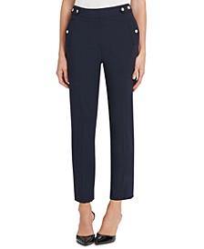 Button-Trim Dress Pants