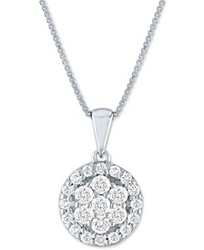 "Forever Grown Diamond Lab Grown Diamond Cluster Circular 18"" Pendant Necklace (1/2 ct. t.w.) in Sterling Silver"