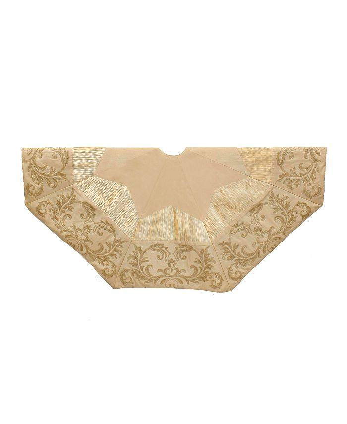 Kurt Adler - 50-inch Gold and Ivory Sequin Tree skirt