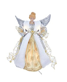 UL 10-Light 12-Inch Silver and Gold Angel Treetop