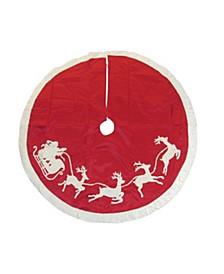 50-Inch Red and White Santa Sleigh Embroidered Treeskirt