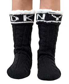 Logo Cable Knit Slipper Sock, Online Only