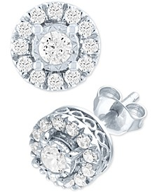 Lab Grown Diamond Cluster Stud Earrings (1/2 ct. t.w.) in Sterling Silver