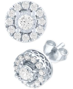 Lab Grown Diamond Cluster Stud Earrings (1/2 ct. t.w.) in Sterling Silver