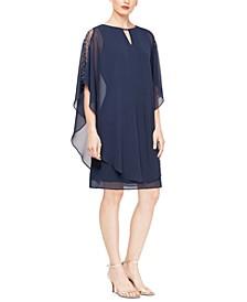 Embellished Sheath Dress With Chiffon Overlay