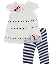 Baby Girls 2-Pc. Lace Top & Striped Leggings Set