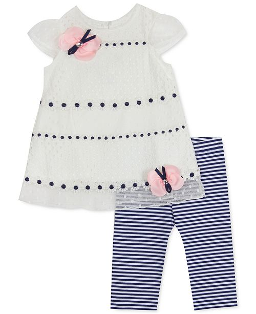 Rare Editions Baby Girls 2-Pc. Lace Top & Striped Leggings Set