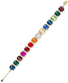 Gold-Tone Multicolor Stone Flexible Link Bracelet