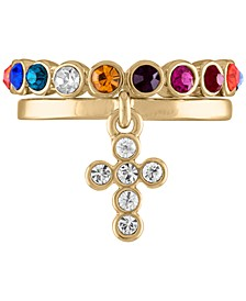 Gold-Tone 2-Pc. Set Crystal Cross & Multicolor Stone Band Stackable Rings