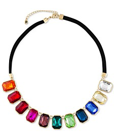 "Gold-Tone Emerald-Cut Multicolor Stone Statement Necklace, 18"" + 2"" extender"