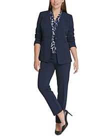 Collarless Jacket, Side-Ruched Top & Stretch Crepe Essex Pants