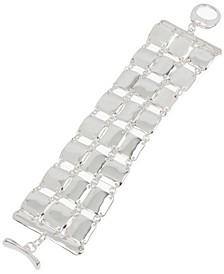 Silver-Tone Sculptural Square Link Triple-Row Flex Bracelet