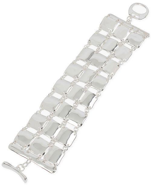 Robert Lee Morris Soho Silver-Tone Sculptural Square Link Triple-Row Flex Bracelet
