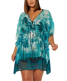 Plus Size South of Seas Paradise Printed Caftan Cover-Up