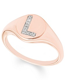 Diamond Accent Initial Signet Ring in 14k Rose Gold
