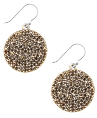 Image of Lucky Brand Earrings, Gold-Tone Pave Disk Earrings