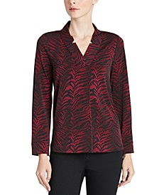 Zebra-Print Notched-Collar Top