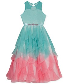 Big Girls Ombré Cascading Tulle Gown