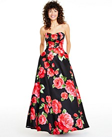 Juniors' Strapless Floral-Print Gown