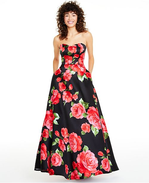 B Darlin Juniors' Strapless Floral-Print Gown